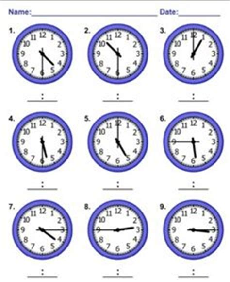 Homework sheets for math telling time